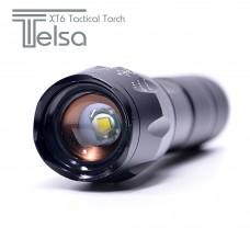 TELSA Waterproof Zoom Aluminium LED Tactical Torch Flashlight